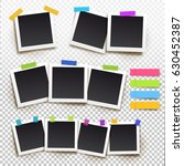 set of  photo frame with tape....   Shutterstock .eps vector #630452387