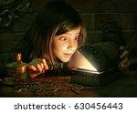 cute girl found a treasure | Shutterstock . vector #630456443