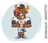 bull football player angry... | Shutterstock .eps vector #630457757