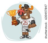 bull football player holds cup. ... | Shutterstock .eps vector #630457847