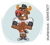 bull football player angry... | Shutterstock .eps vector #630457877