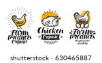 chicken  hen label set. poultry ... | Shutterstock .eps vector #630465887