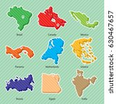 nine maps of countries  brazil  ... | Shutterstock .eps vector #630467657
