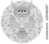 decorative cartoon owl in... | Shutterstock .eps vector #630488387