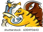 tiger with a trumpet player ... | Shutterstock .eps vector #630493643