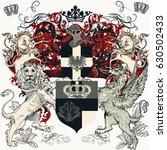 heraldic design with lion ...   Shutterstock .eps vector #630502433