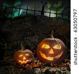 halloween pumpkins on rocks in... | Shutterstock . vector #63050797