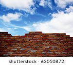 Old Brick Wall With Blue Sky.