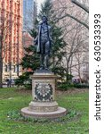 Small photo of New York City - Mar 29, 2017: Monument to Nathan Hale, a 13-foot standing bronze figure, which faces City Hall and honors the last moments of the 21-year-old American Revolution era spy, Nathan Hale.
