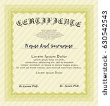 yellow diploma template or... | Shutterstock .eps vector #630542543