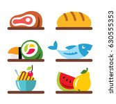 vector set of various food.... | Shutterstock .eps vector #630555353
