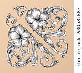hand draw vintage baroque frame ...   Shutterstock .eps vector #630585887