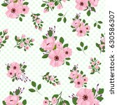 continuous pattern with flowers ... | Shutterstock .eps vector #630586307