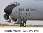 Small photo of BATAJNICA AIRBASE, SERBIA - AUGUST 31, 2012; United States Air Force (USAF) Ohio Air National Guard (ANG) Boeing KC-135 Stratotanker transport / tanker plane nose and engines close-up