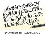 hand drawn brush pen alphabet... | Shutterstock .eps vector #630602717