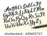 hand drawn brush pen alphabet... | Shutterstock .eps vector #630602717