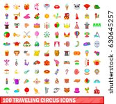 100 traveling circus icons set... | Shutterstock .eps vector #630645257