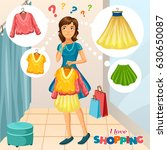 cartoon girl with clothes in...   Shutterstock .eps vector #630650087