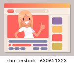 girl leads her channel on the... | Shutterstock .eps vector #630651323