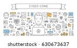 line web banner for cyber crime.... | Shutterstock .eps vector #630673637