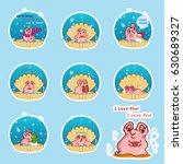 set of vector cartoon pearl... | Shutterstock .eps vector #630689327