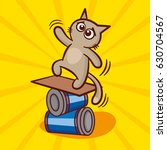 cute cartoon cat on balance... | Shutterstock .eps vector #630704567