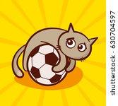 cute cartoon cat on the soccer... | Shutterstock .eps vector #630704597