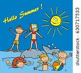 hello summer  postcard. vector... | Shutterstock .eps vector #630717533