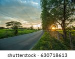 countryside road sunset... | Shutterstock . vector #630718613