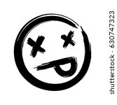 hand drawn dead emoji  ink... | Shutterstock .eps vector #630747323