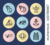 set of 9 marine outline icons...
