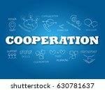 cooperation word on light blue... | Shutterstock .eps vector #630781637