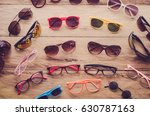 many sunglasses fashion and...   Shutterstock . vector #630787163