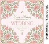 vintage floral wedding... | Shutterstock .eps vector #630790403