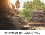 ancient buddha the old brick... | Shutterstock . vector #630797417
