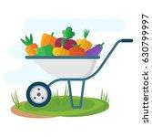 garden wheelbarrow with... | Shutterstock .eps vector #630799997