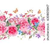 watercolor natural summer... | Shutterstock . vector #630805847