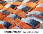 delicious salmon on farmer... | Shutterstock . vector #630811853