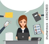 business woman working at... | Shutterstock .eps vector #630825803