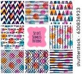 set of 8 seamless patterns. set ... | Shutterstock .eps vector #630836933