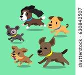 Stock vector cartoon dogs running set 630842507
