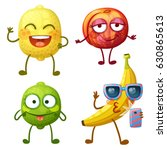 funny fruit characters isolated ... | Shutterstock .eps vector #630865613