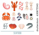 vector set of seafood. | Shutterstock .eps vector #630875543