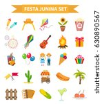 festa junina set  icons  flat... | Shutterstock .eps vector #630890567