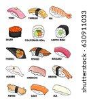 sushi chart vector doodle hand... | Shutterstock .eps vector #630911033