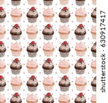 seamless watercolor cupcakes... | Shutterstock . vector #630917417