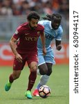 Small photo of 30.04.2017. Stadio Olimpico, Rome, Italy. Serie A. Roma versus Lazio. Salah and Lukaku in action during the match Serie A in olimpic stadium in Rome.
