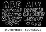 doodle latin alphabet. hand... | Shutterstock .eps vector #630966023