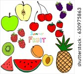 vector set of different summer... | Shutterstock .eps vector #630975863