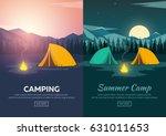 summer camp. evening camp  pine ... | Shutterstock .eps vector #631011653